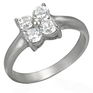 The Stainless Steel Jewellery Shop-Stainless Steel Engagement Ring with 4 Cubic Zircon-Includes FREE Gift Bag ia