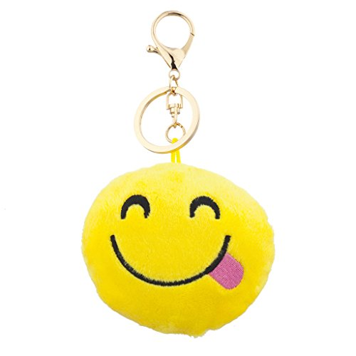 Lux Accessories Yellow Emoji Side Tongue Face Fabric Pillow Bag Charm Key Chain (Key Package compare prices)