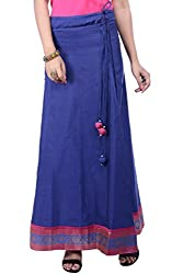 Rene Women's Navy Blue Cotton Silk Solid Flared Fit Long Skirt