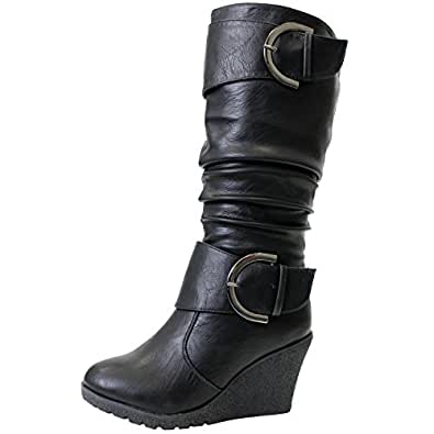 65 womens slouch wedge boots black shoes