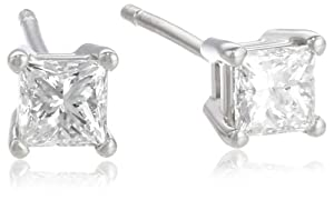 Platinum and Princess-Cut Diamond Stud Earrings (1/2 cttw, G-H Color, VS2 Clarity)