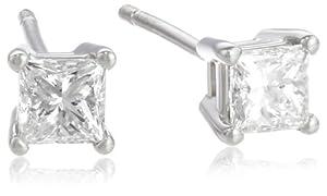 Platinum and Princess-Cut Diamond Stud Earrings (1/2 cttw, G-H Color, VS2 Clarity)