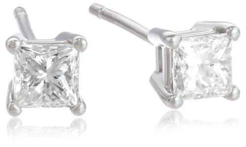 Platinum, Princess-Cut, Diamond 4-Prong Stud