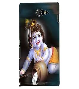 ColourCraft Lord Krishna Design Back Case Cover for SONY XPERIA M2