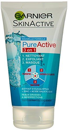 Garnier - Pure Attivo - Maschera scrub detergente - 3 in 1 Cleanser Exfoliator Mask Set di 4