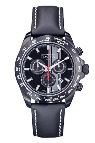 Davosa Speedline TX Chrono, Orologio da uomo al quarzo con Display, cronografo e cinturino in pelle nera 16248855