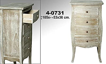 DonRegaloWeb - Mueble sinfonier de madera con 4 cajones decorado en color madera decape