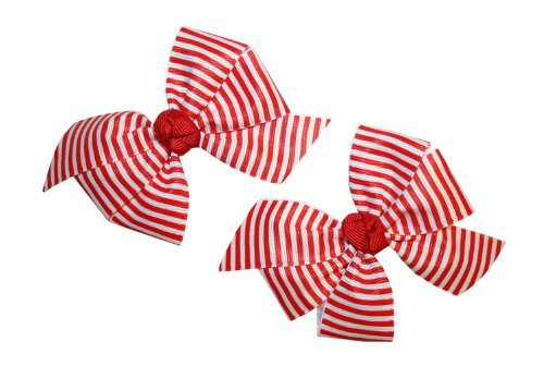 Webb Direct 2U Baby-Girls Set of 2 Red & White Striped Hair Bows on Alligator Clips