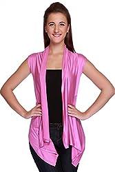 TeeMoods Womens Sleeveless Shrug(TM-1514PINK_Pink_Large)-TM-1514PINKL