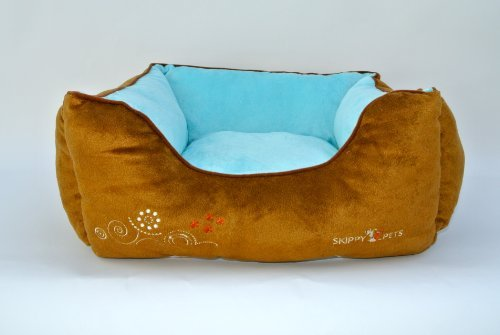 "Overstuffed Dog Bed, Brown / White, Small (22"" X 19"" X 7"" In) front-112707"