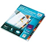Avery Ready Index Translucent Table/Contents Dividers, 15 Tabs, Letter Size, Assorted, 15 per Set (11820 )