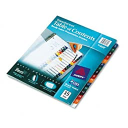 AVE11820 - Avery Ready Index Table/Contents Dividers