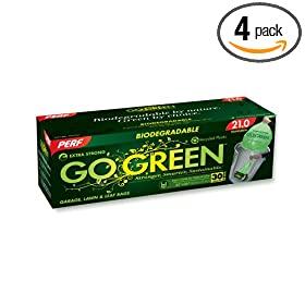 Perf Go Green TT30  30-Gallon Dispenser Lawn and Leaf Bag with Handles, 12-Count Boxes (Pack of 4)