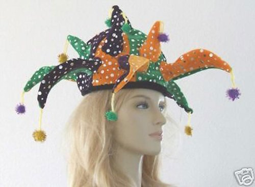 Jester Hat Jazzy Halloween Mardi Gras Costume Masquerade New Orleans Prom Party