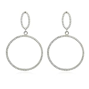 JOTW 925 Sterling Silver Fancy Mini Teardrop & Circle Cubic Zirconia Dangle Stud Earrings at Sears.com