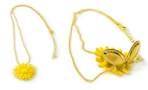 Yellow Daisy Flower Gold Locket Necklace