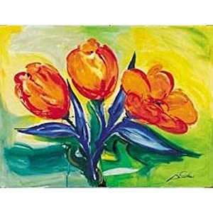Orange Tulips Art Poster PRINT Alfred Gockel 16x12