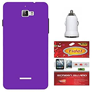 Tidel Stylish Rubberized Plastic Back Cover For Micromax A310 Canvas Nitro ( Purple ) With Tidel Screen Guard & Car Charger Adapter