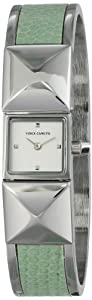 Vince Camuto Women's VC/5061MTSV Silver-Tone Pyramid Covered Dial Mint Green Leather Insert Bangle Watch at Sears.com