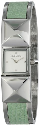 Vince Camuto Women's VC/5061MTSV Silver-Tone Pyramid Covered Dial Mint Green Leather Insert Bangle Watch