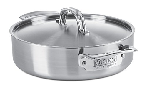 Viking Culinary Professional 5 Ply Stainless Steel Casserole Pan, 3.4 Quart (Stainless Steel Casserole Pan compare prices)