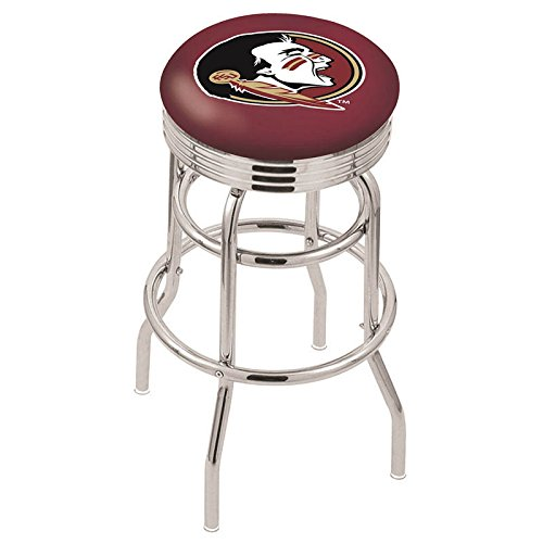 "Logo Series Bar Stool NCAA Team: Florida State ""Head"", Size: 25"", Frame Type: Double Ring Chrome"