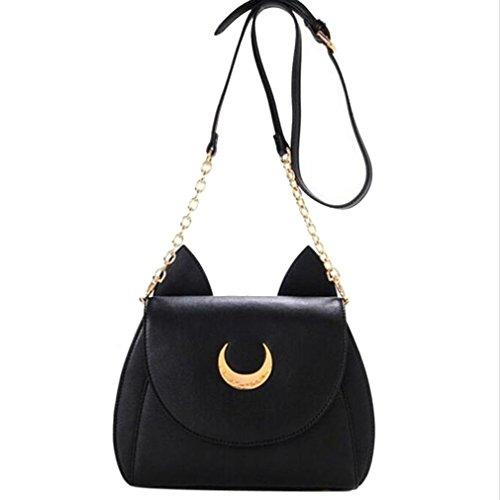 Handbag,Lisingtool Sailor Moon Shoulder Bag Leather Handbag (Black)