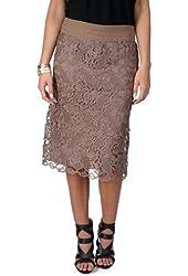 Brinley Co. Womens Elastic Waist Lace Overlay Pencil Skirt