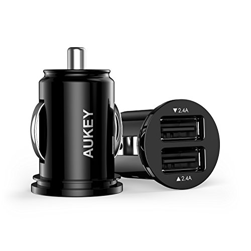 AUKEY Caricabatteria da auto, Mini caricatore, 2 Porte USB Mini Car Charger, 2.4A + 2.4A doppia uscita per iPhone, iPad, Tablet, Smartphone e gli altri dispositivi USB (Nero)