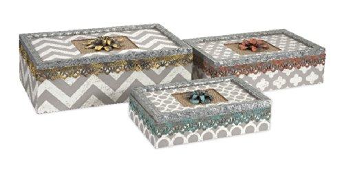 Imax 72096-3 Chevron Boxes, Set Of 3