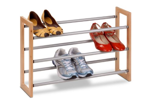 Honey-Can-Do SHO-01372 Adjustable Wood and Metal Shoe Rack, 3-Tier