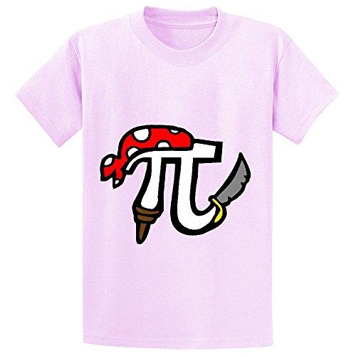 Pi Pirate Teen Crew Neck Print T Shirts Pink