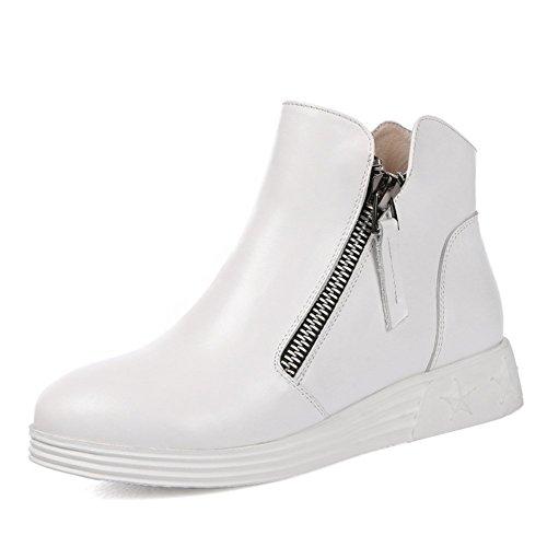 Stiefel & Stiefeletten Frau flache Schuhe/Slope mit Reißverschluss Leder High-Top-Schuhe/Innerhalb der höheren Stiefel-D Fußlänge=23.8CM(9.4Inch)