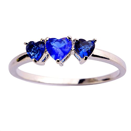 Psiroy Women's 925 Sterling Silver 2cttw Created Blue Sapphire 3-stone Filled Ring (Tanzanite Ring Size 6 compare prices)