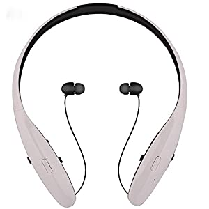 Visteen Wireless Hands-free Bluetooth stereo sport headset retractable wire & jog switch &reality sound ,earphones,earbuds, for Apple Iphone/samsung/sony/ipad and Other Bluetooth Device?white)