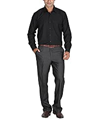 LAGNESH Men's Long Sleeve Shirt (Black, 44)