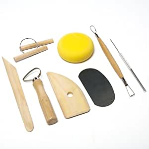 8 Piece wood and metal Pottery tool kit clay kit sponge by Kurtzy TM