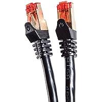 Duronic CAT6a 25m (Schwarz) Ethernet FTP LAN Netzwerkkabel - Doppel geschirmt - 500 MHZ Patchkabel für Switch / Router / Modem / Patch
