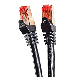 Duronic Black 0.5m CAT6a FTP Professional Gold Headed Shielded Network Cable - Black - High Speed 500MHz Premium Quality Cat6a / Patch / Ethernet / Modem / Router / LAN