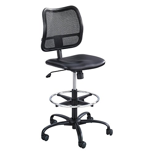 Safco Products 3395BV Vue Extended Height Chair (Optional arms sold separately), Black Vinyl Optional Fixed Arms