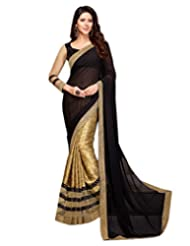 Shoppingover Black With Golden Color Saree In Georgette