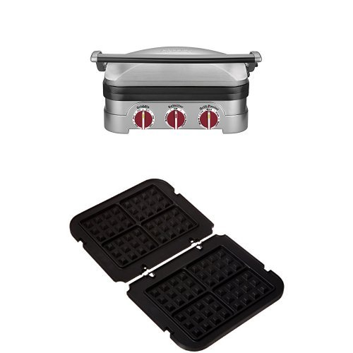 Cuisinart GR-4NR 5-in-1 Griddler Silver with Red Dials and Waffle Plates Bundle (Cuisinart Plates Griddler compare prices)