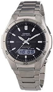 Casio WVA-M640TD-1AER Men's Quartz Watch with Grey Dial Analogue - Digital Display and Silver Titanium Case Metal Bracelet