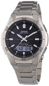 Casio WVA-M640TD-1AER Men's Quartz Watch with Grey Dial Analogue - Digital Display and Silver Titanium Case Metal Bracelet