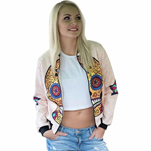 Clearance Sale! Women Jacket,Canserin Women Skull Printing Jacket Zipper Long Sleeve Short Coat Shirt Blouse Tops (S, Multicolor)