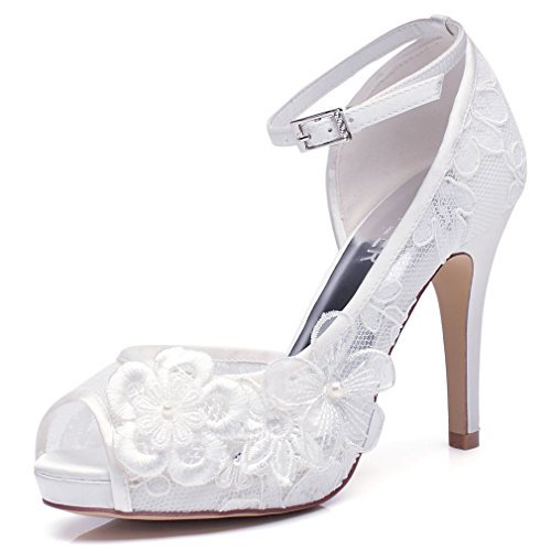LUXVEER White Lace Wedding Shoes For Bridal With Floral Brooches Medium  Heel 4inch Peep Toe