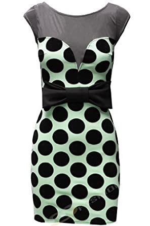 Womens Ladies Spotted Polka Dot Mesh Panel Sweetheart Neckline Prom Bow Bodycon Dress Retro UK 14 Mint