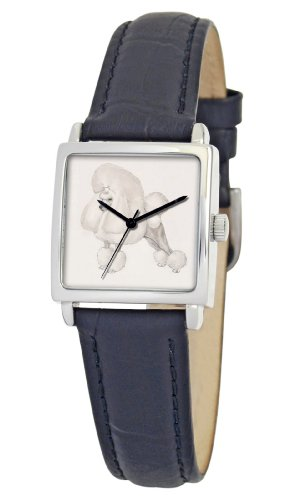 American Kennel Club Women's D1747S010 Poodle Silver-Tone Black Leather Watch