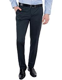 Only Vimal Men's Dark Blue Slim Fit Formal Trouser
