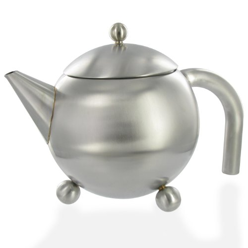 G&H Tea Services Henley 47-Ounce Stainless Steel Loose Tea Teapot Matte Finish